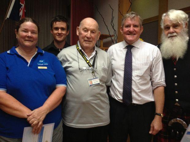 Volunteer Week award winners (from left) Roberta Edwards, Liam Webb, Noel Hannant, Ian Macfarlane and Bill Woodside.