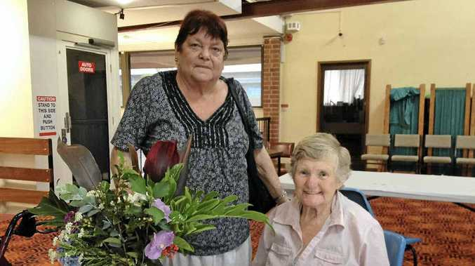 SUPPORT: Delma Gillespie and Joyce Earl both of Goonellabah at the thank you breakfast yesterday.