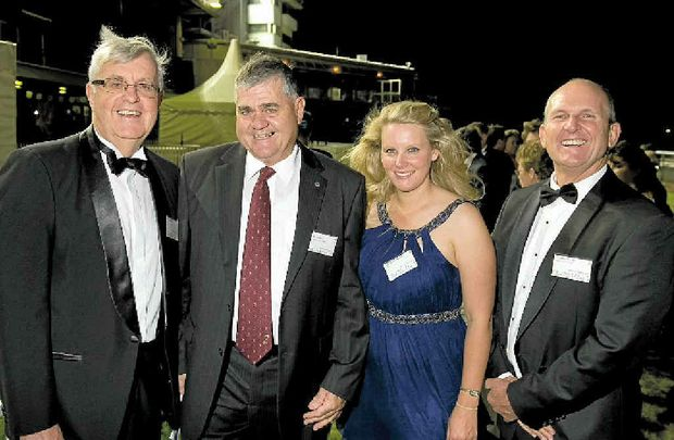 BIG NIGHT: Enjoying the Queensland Grain Industry Awards gala dinner at Toowoomba Turf Club are (from left) John Chapman, AgForce president Ian Burnett, Cassie Hough and AgForce chief executive Charles Burke.