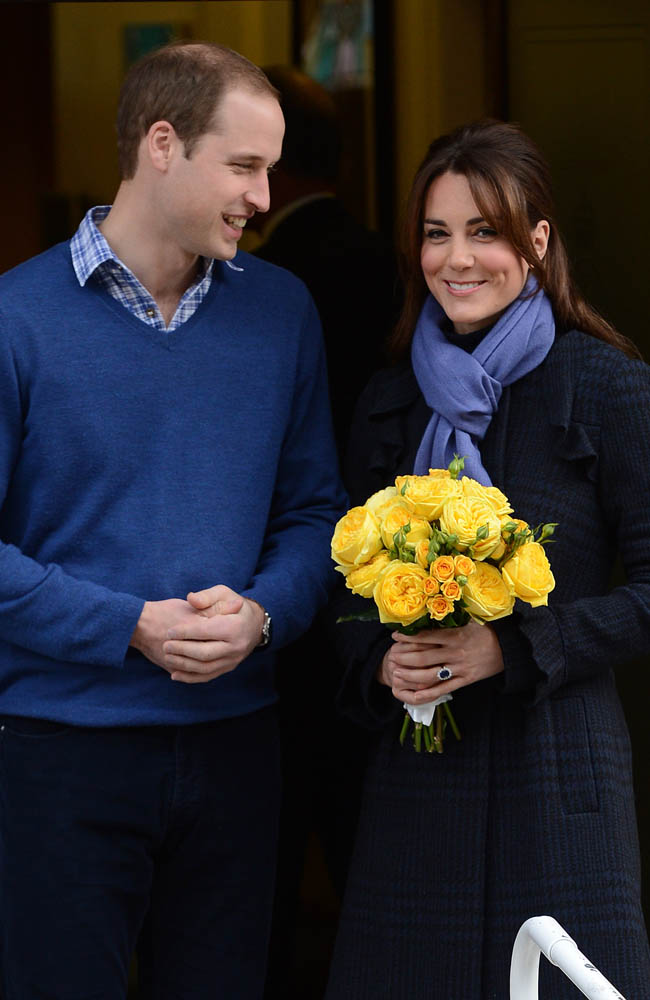 The Duke and Duchess of Cambridge leaving hospital.