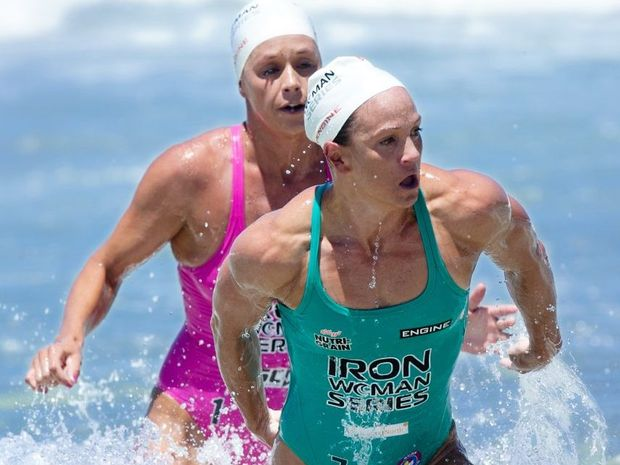 Ironwoman Series at Coolum Beach. Rebecca Creedy leaves the water Photo:Warren Lynam / Sunshine Coast Daily