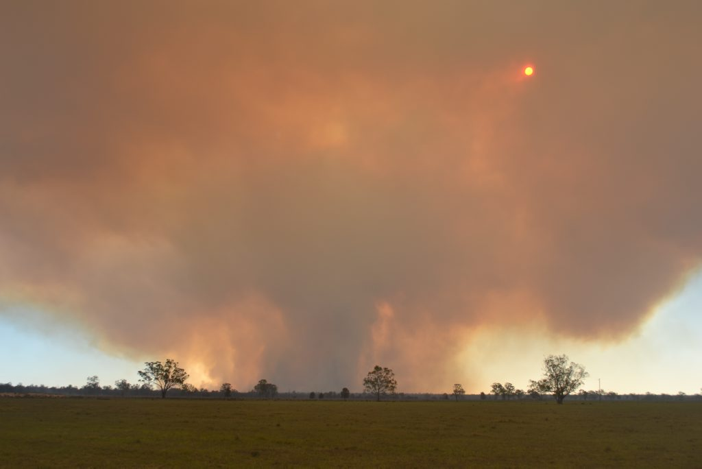 The bushfire burning in the Dalby area.