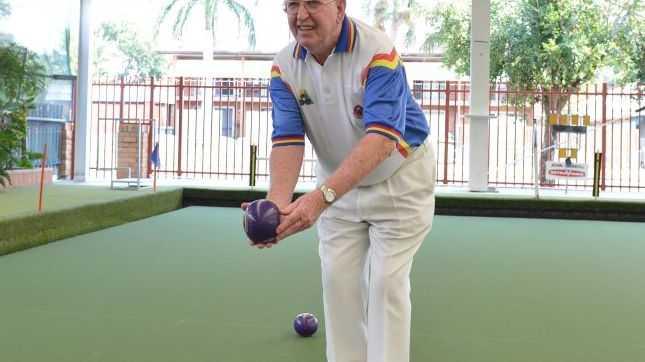 Lawn bowls columnist Vince McSherry bowls at Mackay City Bowls Club.