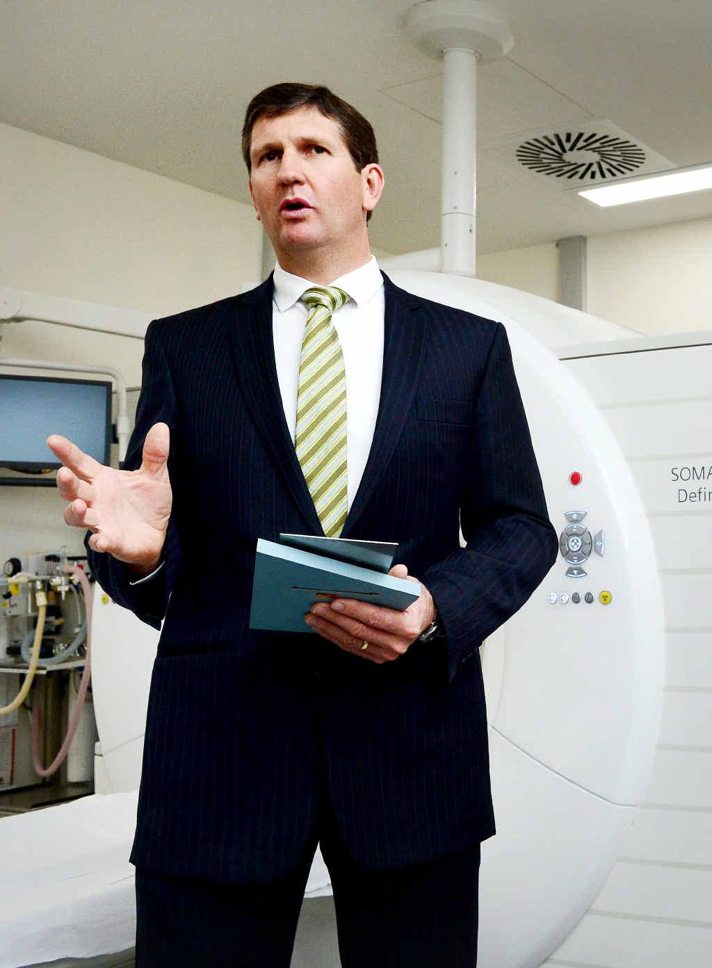 BOARD BLINDSIDED: Minister for Health Lawrence Springborg at Ipswich Hospital in September.