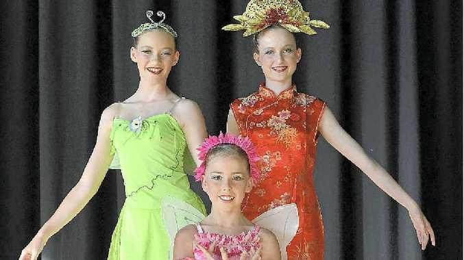 HARD WORK: Passionate dancers (from left) Rebecca Kerr, Tiaani Blunt and Maggie Bryan.