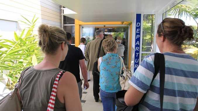 Passengers at Sunshine Coast Airport.