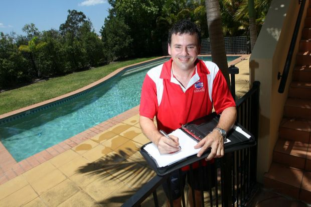 Ben Forrest from Poolwerx Forest Lake promoting pool safety awareness this Summer. Photo: Inga Williams / The Satellite