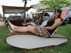 Pier Park Family Market - Sarah Turnbull from Maryborough tries out a sun lounge from Chris Knight Designs. Photo: Alistair Brightman / Fraser Coast Chronicle