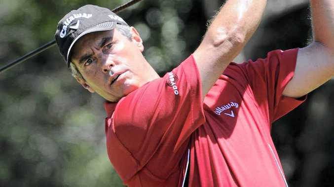 DEFENDING CHAMP: Ian Baker-Finch tees off in the Australian Legends Tour Championship at Byron Bay last year.