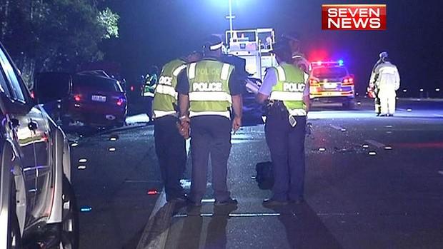 The Coomera crash scene on Friday night. Image: Seven News