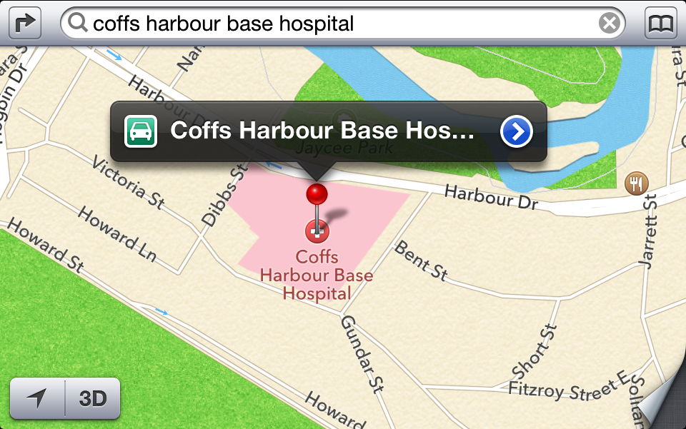 Apple's new Iphone mapping app lists the former Coffs Harbour Base Hospital site.