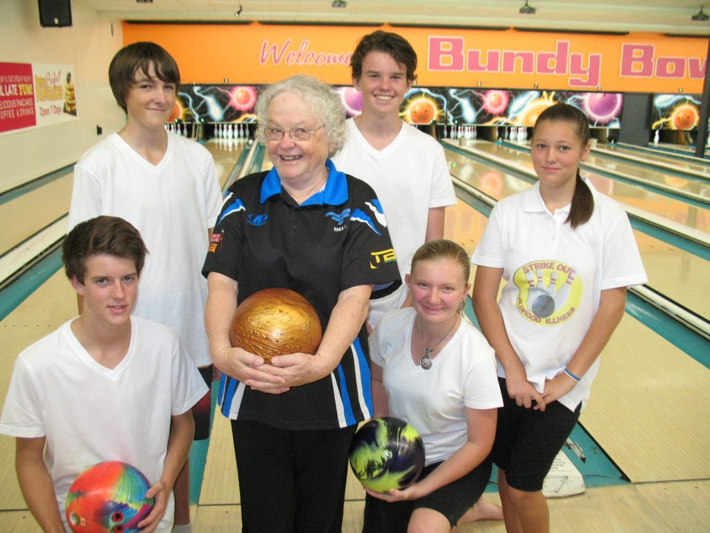 GAME ON: The Bundaberg Junior Tenpin Bowling Association members Tim Read, Brendan Williams, Bree Todd (back) and Donovan Brown, Del Ross and Danni-Elle Jones, are looking for sponsors for their 18 hour bowling marathon which will help raise funds for the Bundaberg Health Services Foundation.