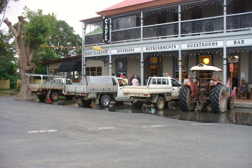 Tractor lined up with the utes Ulmarra Pub 12-01-11 Photo: SUSIE FLETCHER