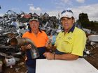 DONATION: Citizens Who Care Scrap Metal for Charity's Steve McCormack and Rob Bauer have turned scrap into cash and are making a great donation to local clubs. Photo: Scottie Simmonds / NewsMail