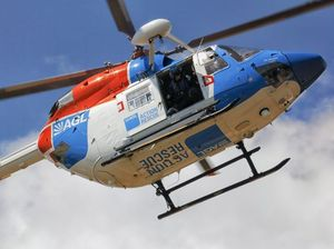 Man flown to hospital after ladder fall