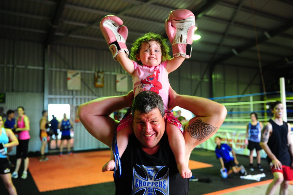 Mick Daly won Yaralla Sports Star Club Person of the Year award. Pictured with his daughter Klanci, 2.