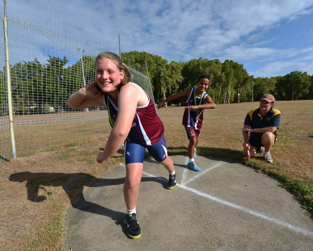Image for sale: Athletics winners Erica Hamilton, Lukas Ripley and coach Adrian Layden. Photo Lee Constable / Daily Mercury
