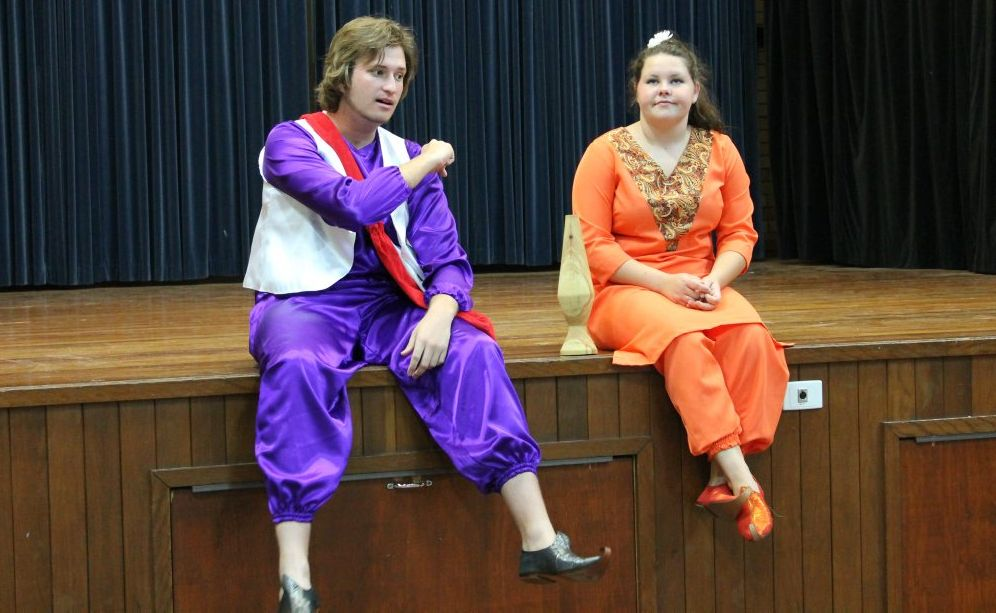 Gavin Bolderrow, playing Aladdin, and Emily Tighe, playing Saffron, with the magic lava lamp.