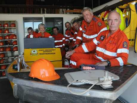 Maryborough Unit SES volunteers Yvonne Turvey, Josie Morphett, Vince Sgroi, Ray Carter, Ray StockdalefBob Sheilds, and Bob Wyllie show off one of the units boats.