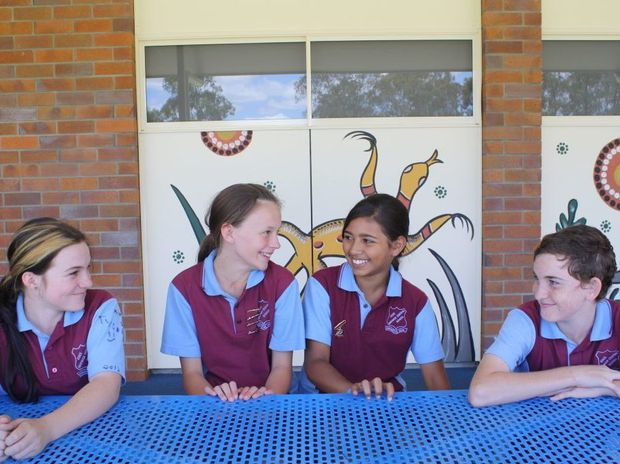 2012 school vice-captain Dakota Hall and her predecessor Caitlyn Mooney and 2012 school captains Jade Chalmers and Jaydan Clark. Photo Kerri Burns-Taylor / Warwick Daily News