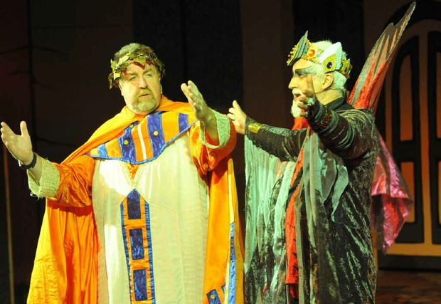 COMMUNITY CELEBRATION: Cr Paul Tully as Envoy One and Ray Davis as Herod at the Western Gateway Christmas Spectacular.
