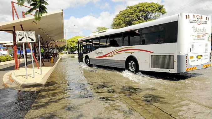 TIDE IS HIGH: King tide in Ballina at the Tamar St bus interchange at 10 am, Friday, December 14.