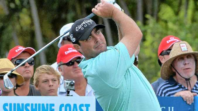 Steven Bowditch tees off at Coolum yesterday.
