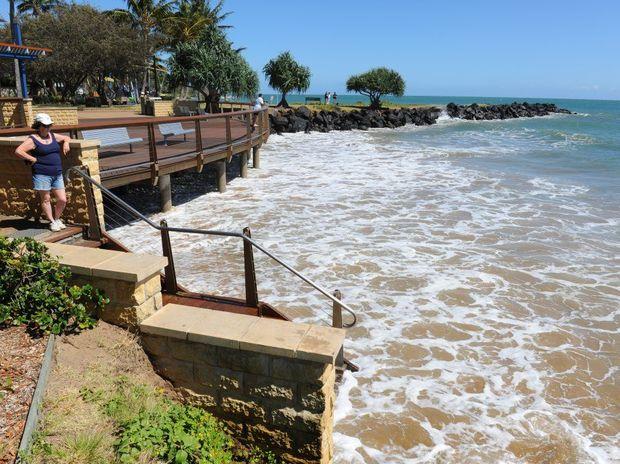 KING TIDE: High water along the Bargara esplanade.