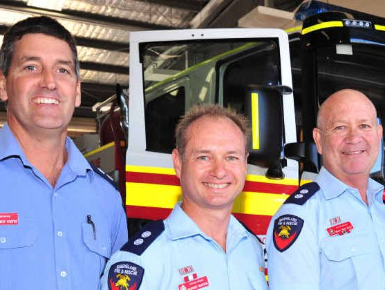 HEROES: Four of the firefighters (from left) Matthew Foster, Warren Hunter, Brian Riley and Cameron Herbert.