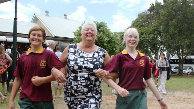 Students Toby Martin and Ella White said goodbye to Buderim Mountain State School last week alongside long-serving teacher Pam Toms who retired Photo Emily Haynes / Buderim Chronicle