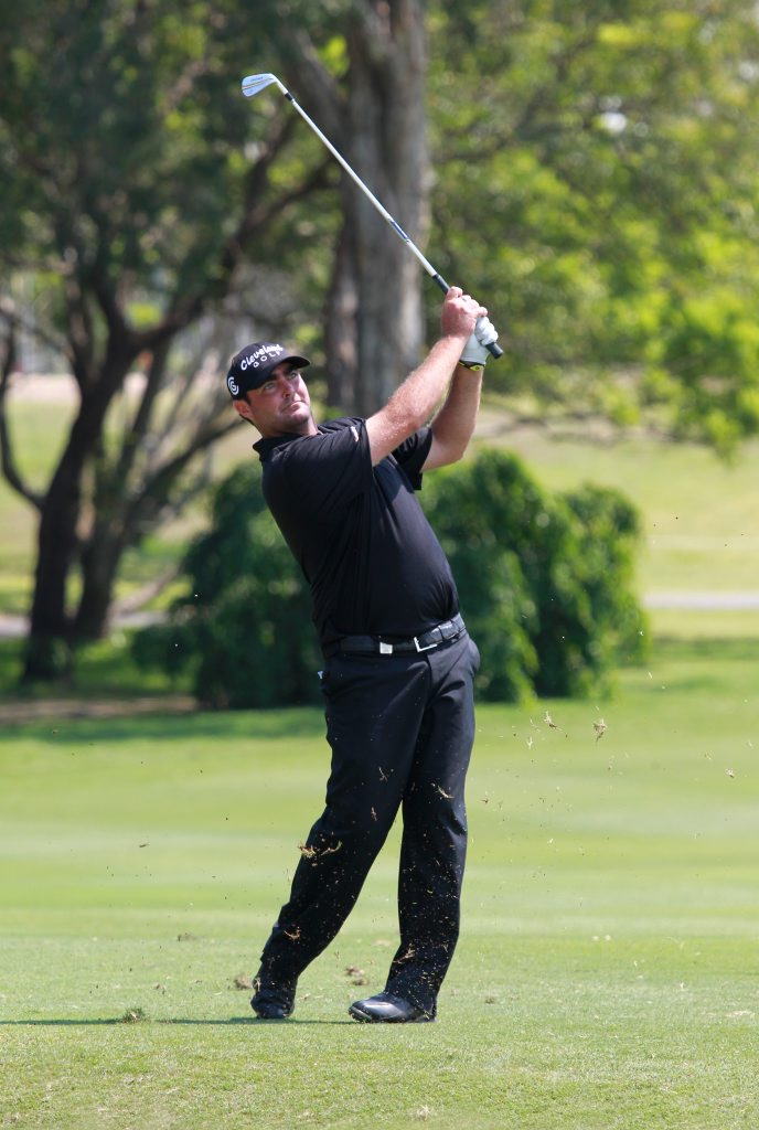 Final day of the Australian PGA Championship at Palmer Resort, Coolum: Steven Bowditch on the 18th. Photo: Brett Wortman / Sunshine Coast Daily