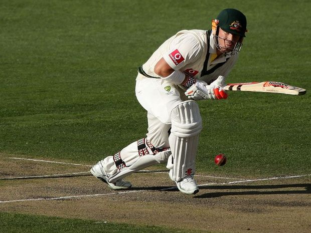 David Warner of Australia plays an on side shot during day three of the First Test match between Australia and Sri Lanka at Blundstone Arena