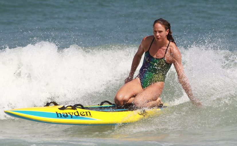 Metropolitan Caloundra ironwoman Rebecca Creedy in action.