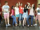 OP 1 students from from Centenary Heights, from left; Lachlan Webb, Adam Little, Maisha Rahman, Grace Myatt, Alex Hilton, Marissa Andersen, Bernie King and William Searchfield. Photo: Bev Lacey / The Chronicle
