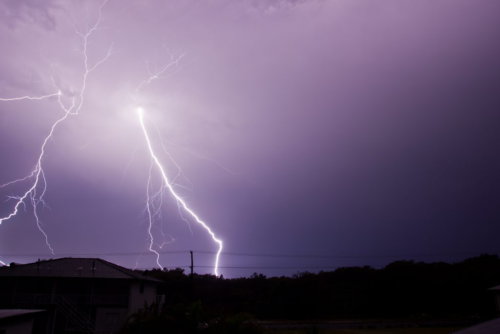 Lightning strikes from Tuesday night's thunderstorm on the Northern Rivers.