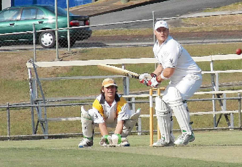 Valleys batsman Josh Grieves comes down the wickets against Harlequins at Albert Park on Saturday.