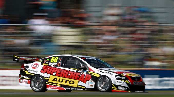 Russell Ingall of the Supercheap Auto Racing team team in action at Barbagallo Raceway.