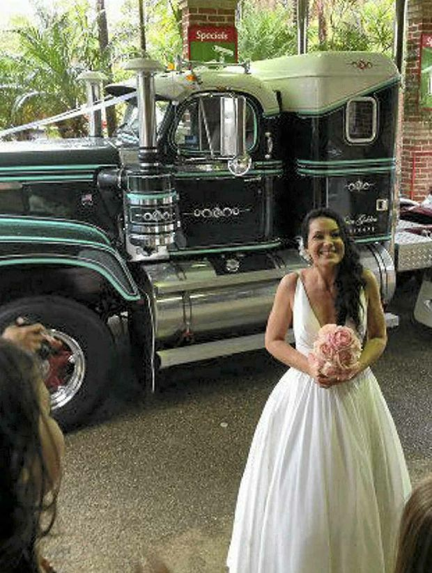 BRIDE OF PLACE: The Diamond T that John Ferguson restored was used in his daughter Alisa's wedding. Photos: Contributed