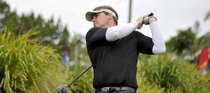 LOCAL KNOWLEDGE: Byron golfer Simon Jones playing in the Byron Bay Golf Club Australian Legends.