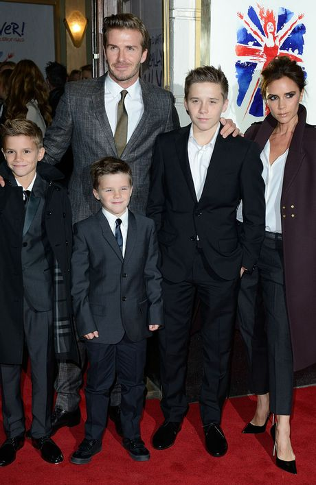 Romeo Beckham with his family.