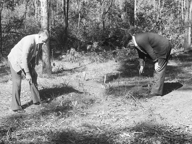 Police search in the Murphys Creek area following the murder of two Sydney nurses Lorraine Wilson and Wendy Evans in 1974.