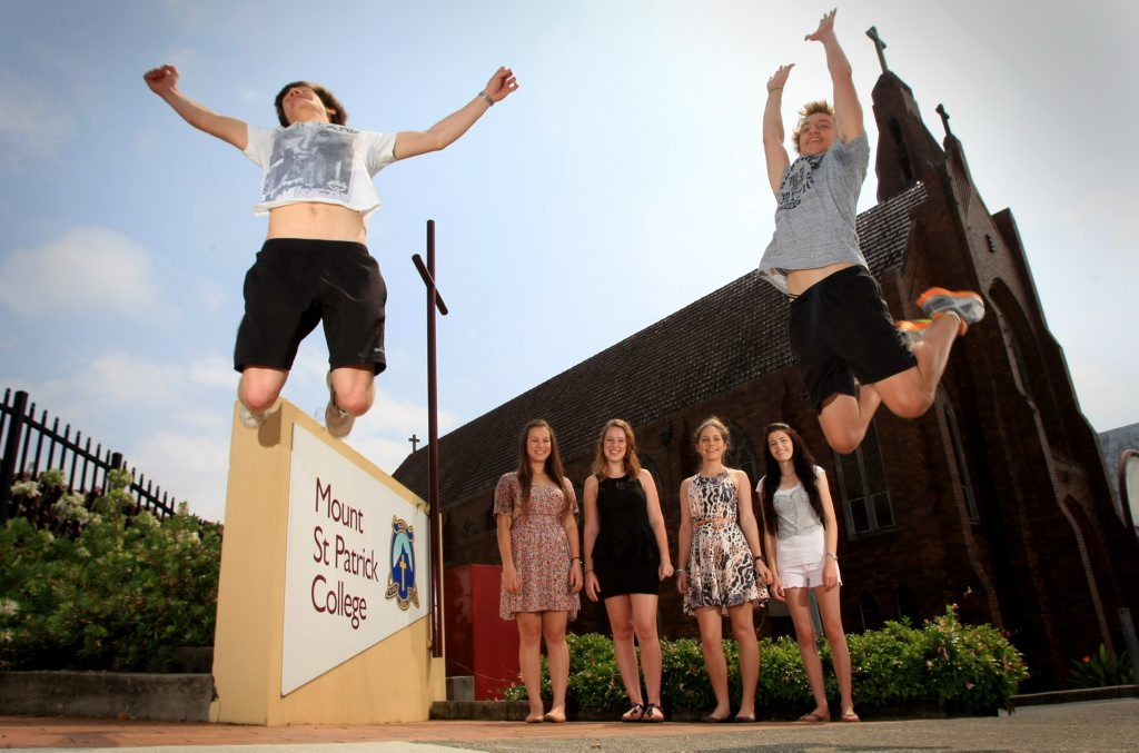 Image for sale: Martin Rose and Callum Inksetter jump for joy as Maddison Sherrah, Mairead Geray, Gaia Herrmann and Mikayla Mongan watch on. Photo: Blainey Woodham / Daily News