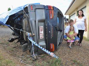 Children saved by proper safety belts during car rollover