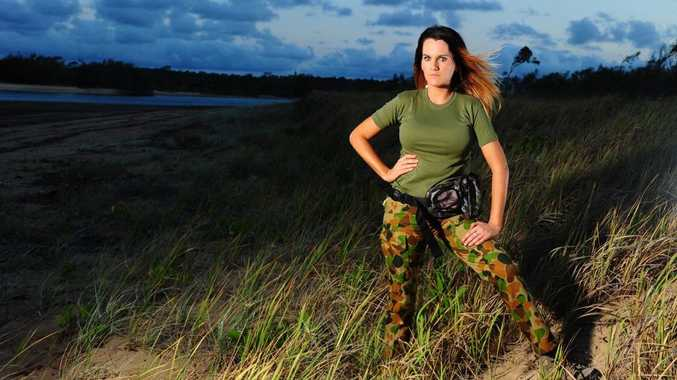 Angelina Taylor models a camping outfit from Gladstone's Camping Centre.