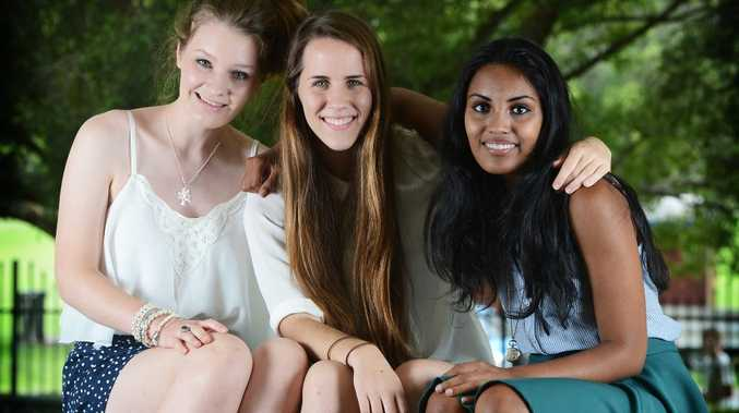 L-R Bonnie Graham of Eltham, Laura Pirlo of Numulgi and Divya Venkataraman of Tintenbar finished their HSC this year at Trinity Catholic College, Lismore. Photo Patrick Gorbunovs / The Northern Star