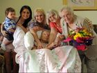Charlette Kersnovski celebrates her 105th birthday surrounded by five generations of family - Elias Borzillo-Ricki, Marissa Borzillo, Donna Borzillo, Glenda Connors, Glenis Conradi.