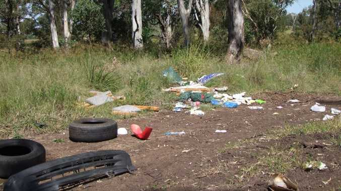 WHAT A MESS: Tyres, car parts, oil, household waste, furniture and personal items were dumped illegally on Hoopers Road. Photo Kate Benedict / South Burnett Times