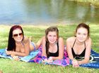 Chantelle Corry, Tayla Grant and Olivia Corry have fun at Awoonga Dam.