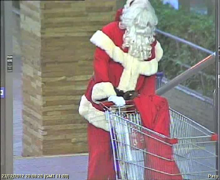 CCTV footage showing a man dressed as Santa who robbed a Liverpool shopping centre. If you now who this please contact Crime Stoppers on 1800 333 000.