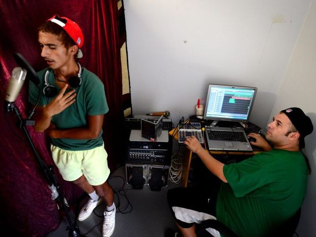 Local hip hop artists Travez Butler aka Lil Trezz and Joe Lewis aka JL the their studio at Gracemere.